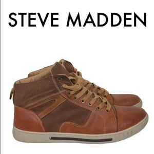 STEVE MADDEN TAN LEATHER SNEAKERS SIZE  11